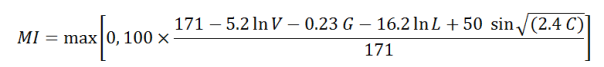 Equation for computing Maintainability Index (MI)
